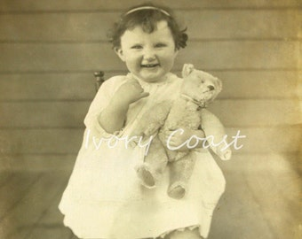 Child with Bear Sepia Vintage Photo.  Digital Download.  Image, Transfer, Teddy, Smile, Funny, infant, brown, baby, photograph,,# 15/P2/EAU