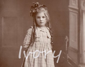 Girl with long ringlets. Vintage, Photo, Digital, Download, portrait, image, sepia, brown, check, child, instant, transfer, sweet, #14/P2
