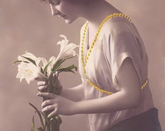 White Lily Lady Vintage Photo Image. Digital, Download, Edwardian, hand tinted, profile, yellow, flowers, woman, female, soft, #14P2/ES