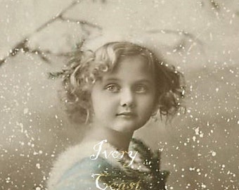 Snow Blue Child Vintage Photo. Digital Download, ephemera, instant, transfer, portrait, winter, sweet, cute, child, hand tinted, #14/PAM