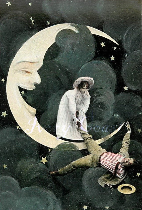 transfer #14PICFI Clowing around on the Moon 1 collage Vintage Postcard Funny couple mixed media sillly image Digital Download