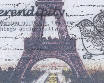Serendipity Eiffel Tower Dictionary Digital Download Ephemera.  No shipping.