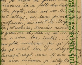 Handwritten Postcard (Romanian) with script.  Digital download, Ephemera, instant, transfer, image, penmanship, letter, mail, #12PS/PS/FP