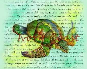 How to walk your Sea Turtle story art. Digital, Download, instant, transfer, image, illustration, beach, seaside, nursery, baby, #12/TA/WA,