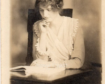 Woman at desk reading vintage photo. Digital, Download, postcard, ephemera, sepia, lady, instant, transfer, Victorian, book, read,13/ps/eau