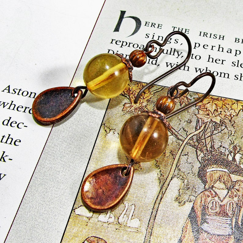 Fluorite and Yellow Brass Earrings Earrings Fluorite Earrings Wire Wrapped Earrings Jewelry with Meaning Order to Chaos