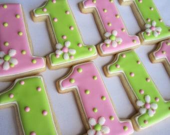 NUMBER ONE Sugar Cookie, Birthday Party Favors, 1 Dozen