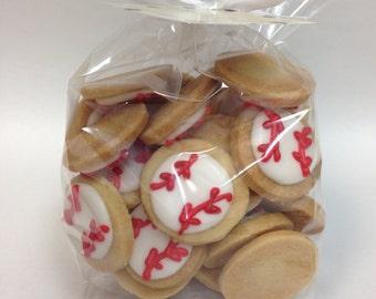 Mini BASEBALL SUGAR COOKIES, Itty Bitty Sugar Cookies, 1/2 Pound