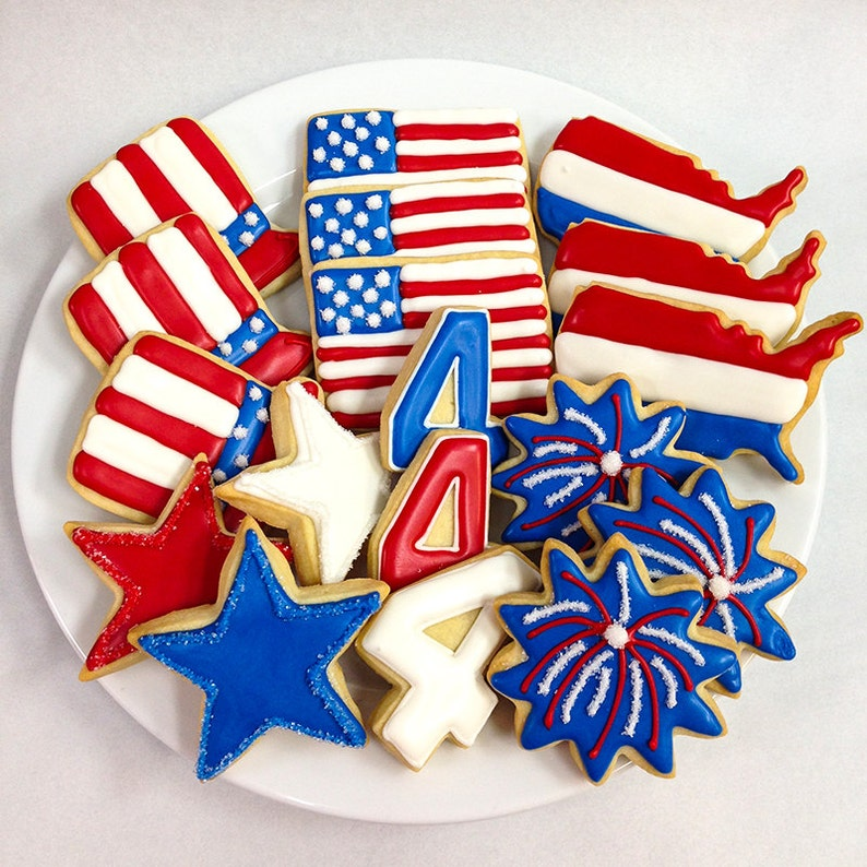 d9baf1b04b86 FOURTH of JULY COOKIES Decorated Sugar Cookie Gift Box 18