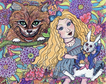 Alice in Wonderland, print of original pen and ink and colored pencils