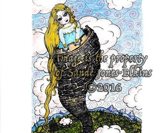 Rapunzel print of original pen and ink and colored ink drawing