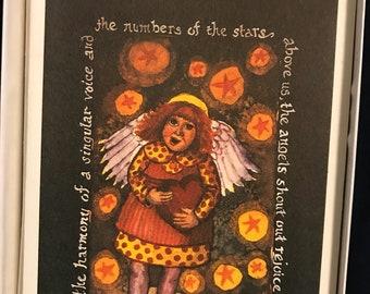 Folk Art Angel 5x7inch Greeting Card