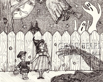 Things That Go Thumpity, Bumpity on a Halloween Night....Print of original Pen & Ink