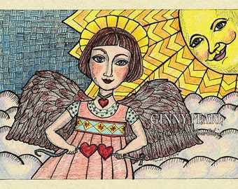 Two Hearts Angel Print of original pen and ink and colored pencil drawing
