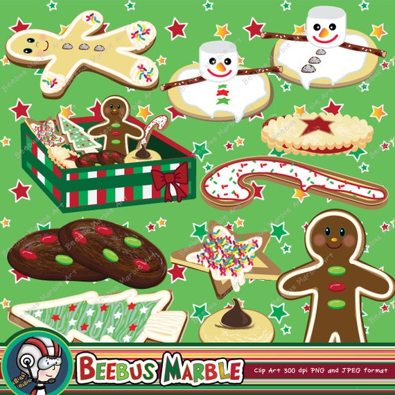 Christmas Cookies Clipart Printable Instant Download Cookie Clip Art Cookie Swap Cookie Exchange Gingerbread Man Holiday Party