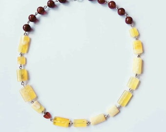 Citrine and carnelian heart necklace