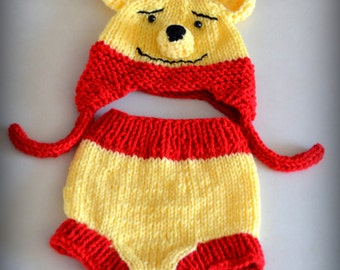 Winnie The Pooh Baby Hat Diaper Cover Set Photo Prop Etsy