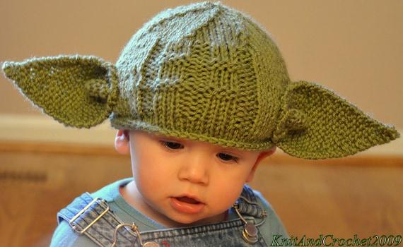 Yoda Knitted Hat All Sizes Star Wars Geeks Hat Yoda Jedi Etsy
