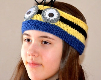 Minion headband - Crochet headband - Minion - Crochet Minion Hat - Hat - Character Hat - Photo Prop - Despicable Me Hat