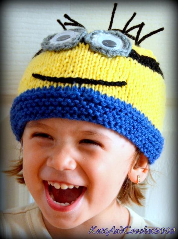 Baby Pasgeboren Minion Muts Gebreide Minion Cap Minion Hat Etsy