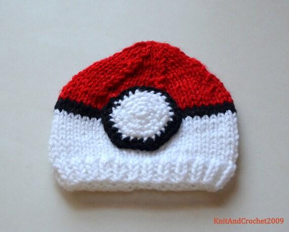 03ef26ec9f2a Crochet chapeau de Pokemon chapeau de Pokeball Pokemon aller   Etsy