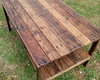 Reclaimed Pallet Wood UPCYCLED Coffee Table Vintage Rustic Look FREE SHIPPING