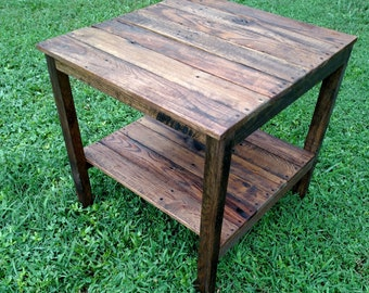Genial Reclaimed Pallet Wood End Table   Vintage Rustic Look *FREE SHIPPING*