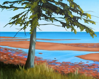 """Tidal Flats, 14x14"""" original oil painting on canvas by Daina Deblette Scarola (Bay of Fundy, red clay, east coast, Nova Scotia)"""
