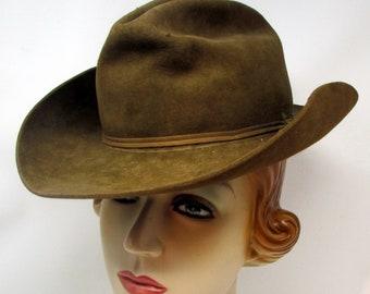 Vintage XXX Beaver Stetson Real Cowboy Rodeo Hat Cowboy Hat Rockabilly mens  or ladies 3012c89d9274