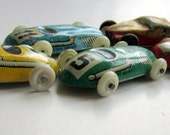 Vintage Miniature Lithographed Tin Cars Race cars and Taxi 5 total