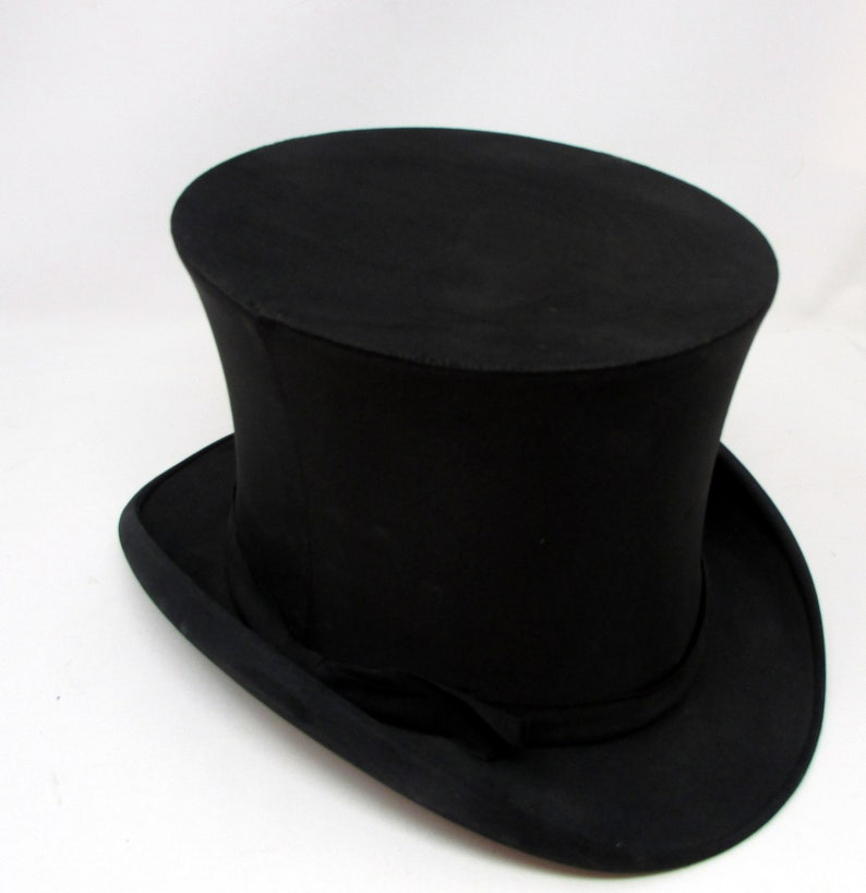 Vintage  Collapsible Top Hat Mens or ladies Black Collapsible Top Hat Steampunk 1800/'s North Yakima Label Putting on the Ritz