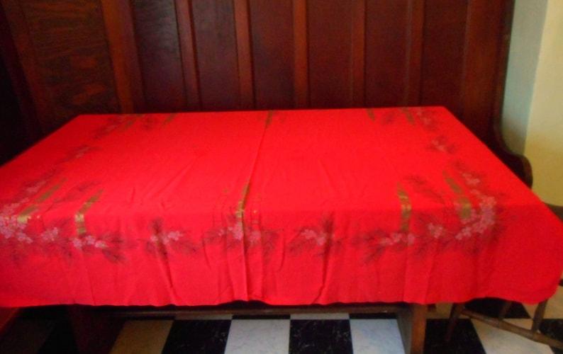 Vintage Christmas Tablecloth California Hand Print Vat Dyed 1950s Tablecloth Xmas Advent Decor