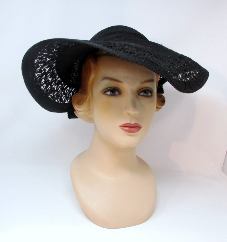 1de1771be30 Vintage Wide Brim Hat Avant Garde Art Deco Hat Black Lacy