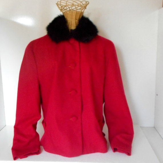1960s Italian Wool Ladies Jacket with Fur Collar V