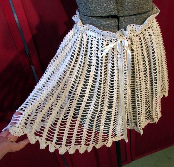 Vintage 70s Mini Skirt Crocheted Skirt Hand Made S