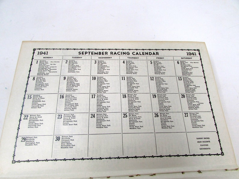 Vintage Daily Racing Form Monthly Chart Book 1941 Horse Racing Book