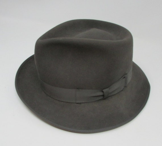 Vintage Fedora Style Grey Hat Towncraft Size 6 7 8 Mens hat  81a75ba8736