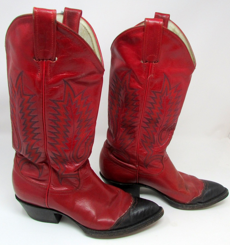 a40a0c4e961 Vintage Larry Mahan Red Cowboy Boots Scot Collection Leather Womens Cowgirl  Boots Texas Sz 6.5
