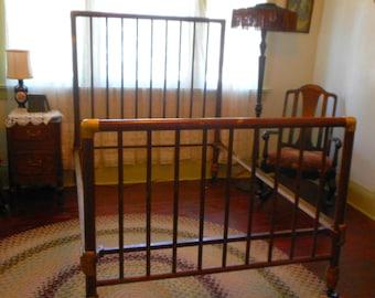 Antique Double Full Bed Cast Iron and Brass Ornate Art Nouveau Legs and rails Unique