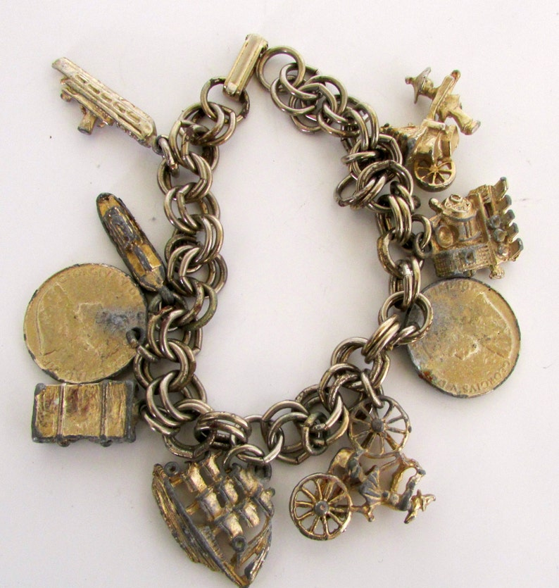 Vintage Charm Bracelet Gold Tone Travel Theme Ship Train  da1d6313556