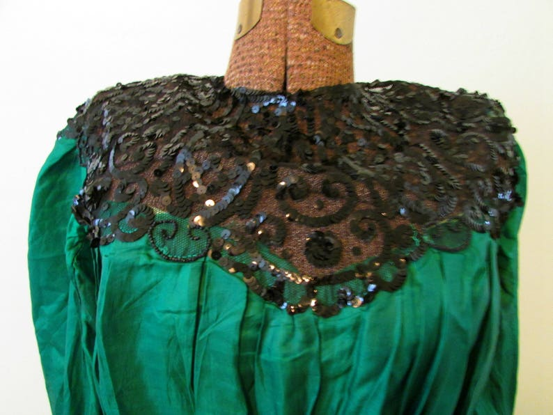 Gunsmoke Miss Kitty Dress Costume Authentic Early 1900's Green Silk Gown  with Black Sequins and Lace Antique Silk Gown Dress Emerald Green