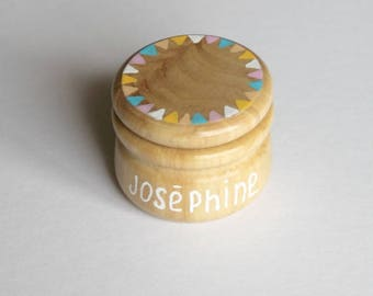 Teeth milk or rings personalized wooden - circus candy box
