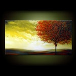 24 x 48 red tree lollipop tree gift for women anniversary gifts gift for men fall autumn tree painting large abstract canvas large wall art