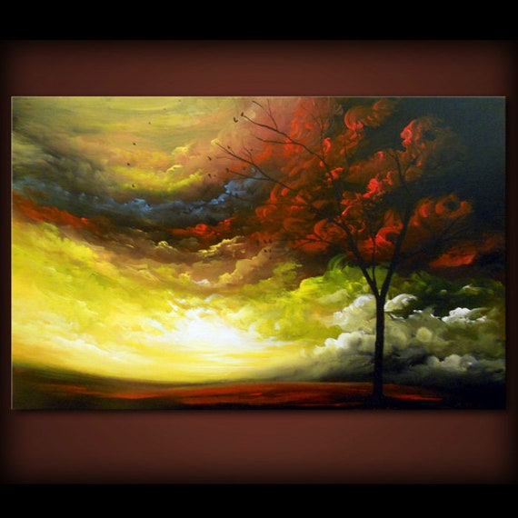 24 X 36 Abstract Art Original Painting Lollipop Tree Of Life Paintings Large Canvas Abstract Landscape