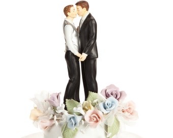 Pastel Rose Gay Wedding Cake Topper - Custom Painted Hair Color Available - 105956