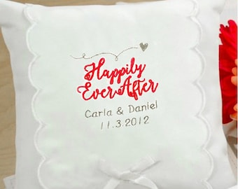 Personalized Happily Ever After Wedding Ring Pillow - 75204