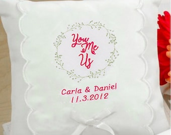 Personalized You, Me, Us Wedding Ring Pillow - 75208
