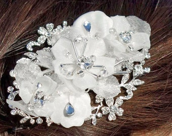 Sweet Chiffon and Crystals Flower Comb - 183530