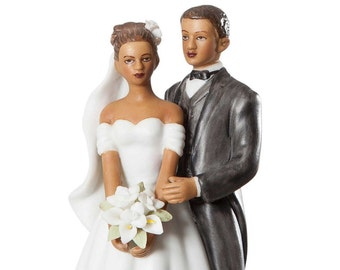 Small Elegant African American Wedding Cake Topper - Custom Painted Hair Color Available - 70812