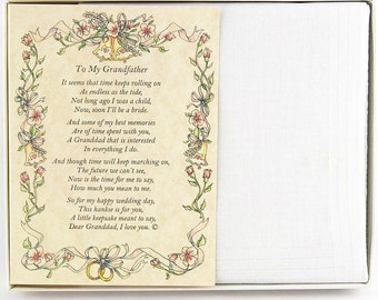 fffb5602948ac3 Personalized From the Bride to her Grandfather Wedding Handkerchief - BH118